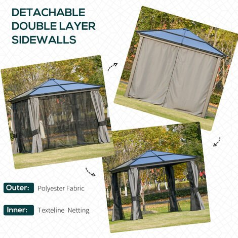 Outsunny Outdoor Aluminium Hardtop Gazebo Patio Shelter w/ Mesh & Curtains 3x3m
