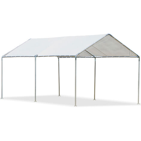 Outsunny Outdoor Car Shelter Gazebo w/ Steel Frame Canopy Protection 2.6x5.95m