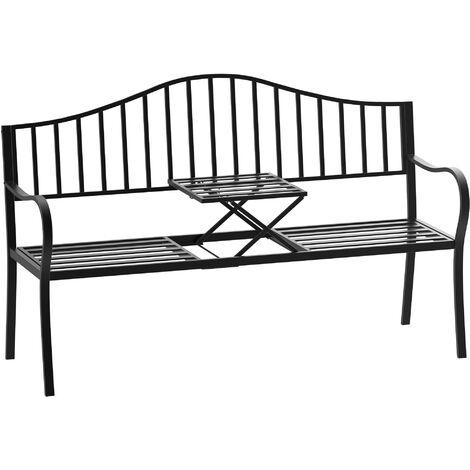 Outsunny Outdoor Deluxe Metal Frame Patio Park Garden Bench w/ Middle Table Black