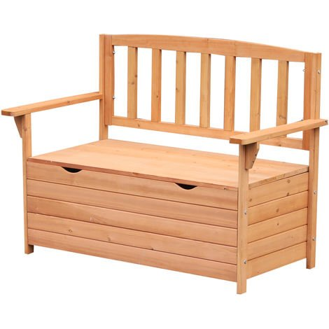 Outsunny Outdoor Garden Bench w/ Storage Fir Wood Patio Outdoor Furniture Seating