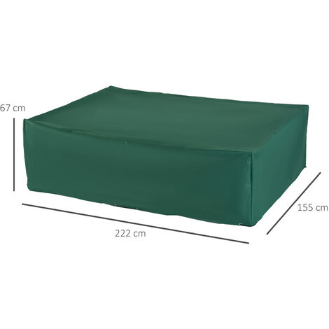 Outsunny Outdoor Garden Rectangular Furniture Cover Green - 222L x 155W x 67H (cm)