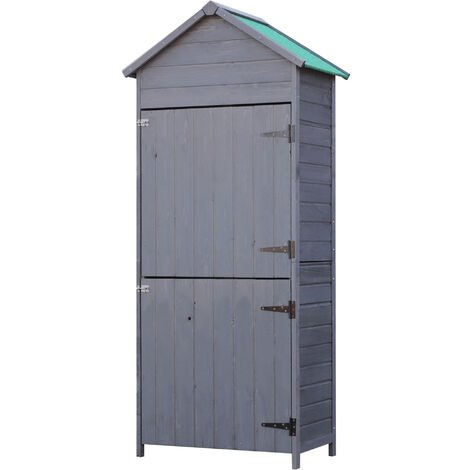 Outsunny Outdoor Garden Shed Wooden Tool Storage Shelves Cabinet 2 Door Grey