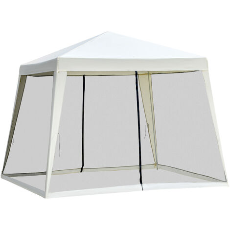 Outsunny Outdoor Gazebo Sun Shade Shelter w/ Mesh Screen Side Walls 3x3(m) Cream White