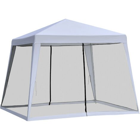 Outsunny Outdoor Gazebo Sun Shade Shelter w/ Mesh Screen Side Walls 3x3(m) Grey