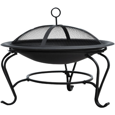 """main image of """"Outsunny Outdoor Metal Fire Pit Round Firepit Wood Burning Heater Mesh Lid Garden Stove Patio Brazier w/ Poker Dia.56cm"""""""