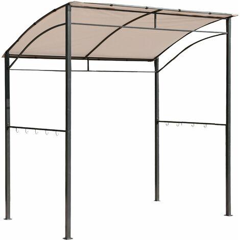 Outsunny Outdoor Patio BBQ Grill Gazebo Canopy Metal Wall Gazebo - Beige