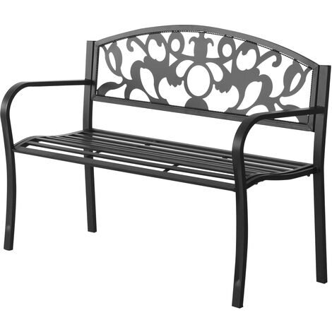 Outsunny Outdoor Patio Garden Bench Furniture Porch Metal Frame 2 Seater