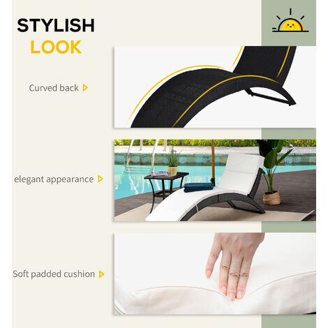Outsunny Outdoor Pool Rattan Wicker Foldable Sun Lounger Recliner Bed