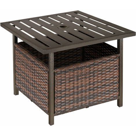 Outsunny Outdoor Rattan Coffee Table w/ Umbrella Hole Fit for Garden Backyard
