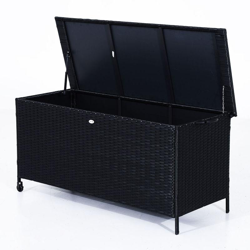 Outsunny Outdoor Rattan Storage Box Garden Chest Trunk Patio Cabinet Unit Wheels