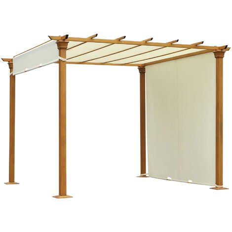 Outsunny Outdoor Retractable Pergola Gazebo Garden Sun Shade Canopy Shelter