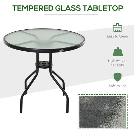 Outsunny Outdoor Round Bistro Table Garden Steel Frame Glass Top w/ Parasol Hole 80cm
