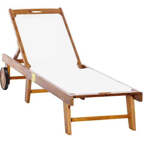 Outsunny Outdoor Sun Lounger Acacia Wood Bed Recliner w/ Wheels Adjustable Back Patio