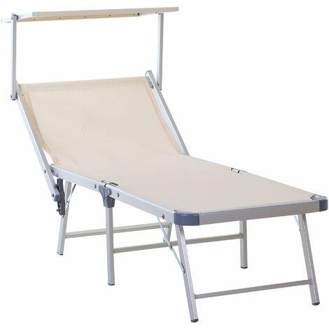Outsunny Outdoor Sun Lounger w/ Overhead Canopy Aluminium Adjustable Seat Beige