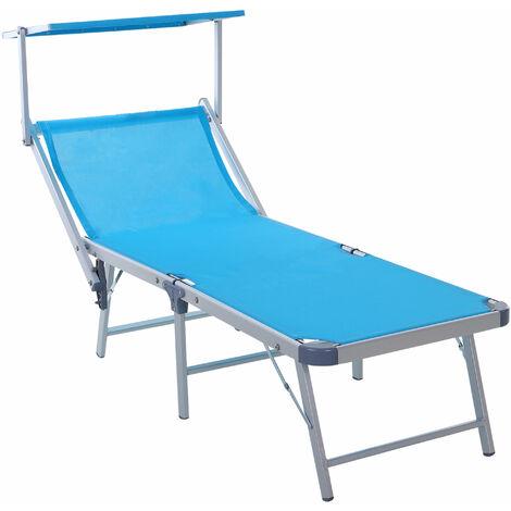 Outsunny Outdoor Sun Lounger w/ Overhead Canopy Aluminium Adjustable Seat Blue
