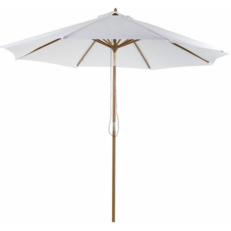Outsunny Parasol Grande de Patio y Piscina Ángulo Regulable Poliéster Φ300x250cm Marfil