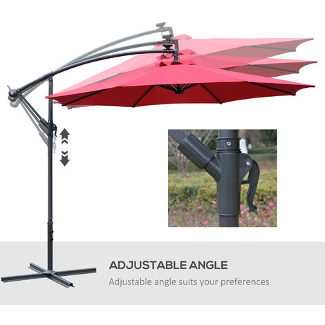 Outsunny Patio Offset Parasol Umbrella w/ LED Lights Steel Frame Garden Outdoor