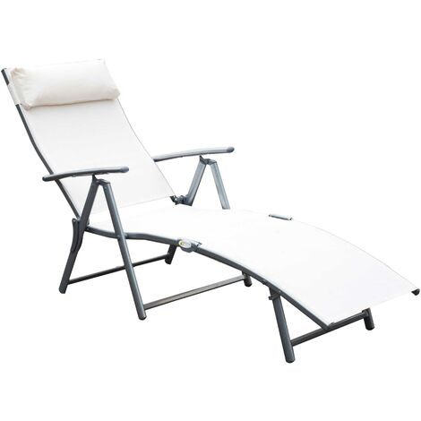 Outsunny Patio Sun Lounger Texteline Foldable Reclining Chair w/ Pillow (Cream)