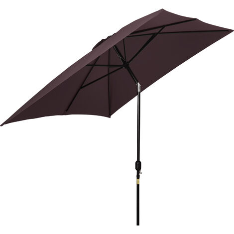 Outsunny Patio Umbrella Parasol Rectangular Canopy Tilt Crank Sun Shade Shelter Brown