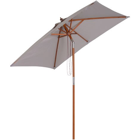 Outsunny Patio Umbrella Wood Frame Parasol Outdoor Sunshade Garden Patio Grey
