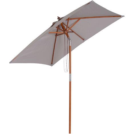 Outsunny Patio Umbrella Wood Frame Parasol Outdoor Sunshade Garden Patio Grey