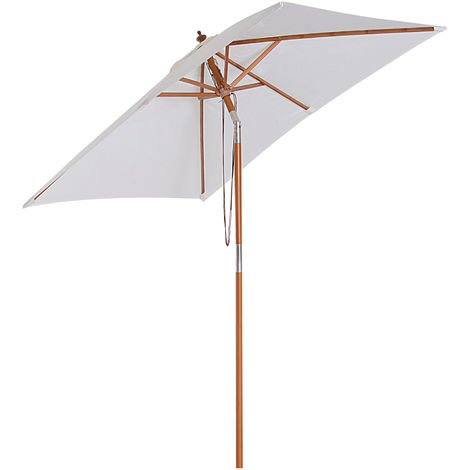 Outsunny Patio Umbrella Wood Frame Parasol Outdoor Sunshade Garden Patio White