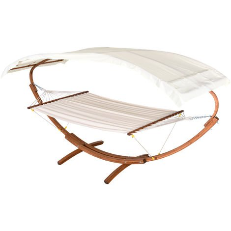 Outsunny Patio Wooden Double Hammock Swing Sun Roof Bed w/ Arc Frame Stand
