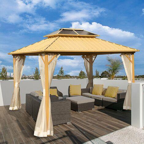 Outsunny® Pavillon Pergola mit PC Dach UV-Schutz Wasserfest Alu Schwarz 365 x 265 x 212 cm