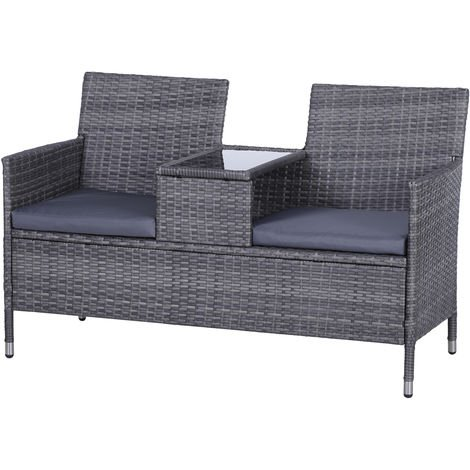 Outsunny PE Rattan Duo Seat Table Bench w/ Padded Cushions Glass Tabletop Grey