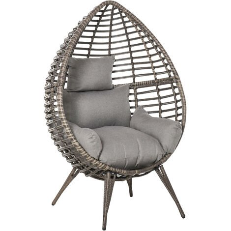 Outsunny PE Rattan Outdoor Egg Teardrop Chair w/ Cushion Elegant Stylish Seating