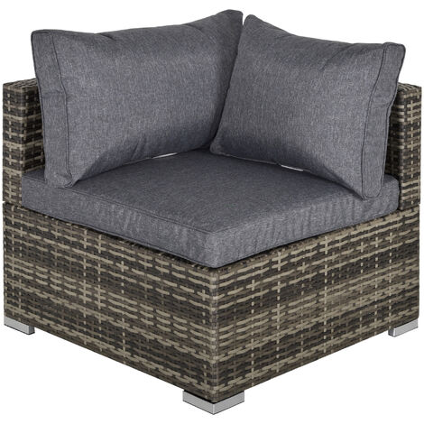 Outsunny PE Rattan Wicker Corner Sofa Chair Garden Furniture w/ Cushion Deep Grey