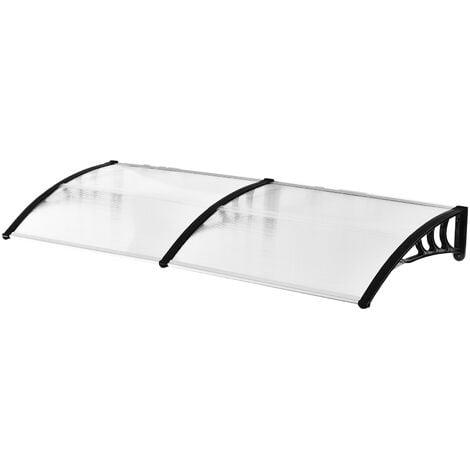 Outsunny Pensilina Tettoia per Porta o Finestra Impermeabile Anti-UV in Policarbonato 80 x 197 x 23 cm