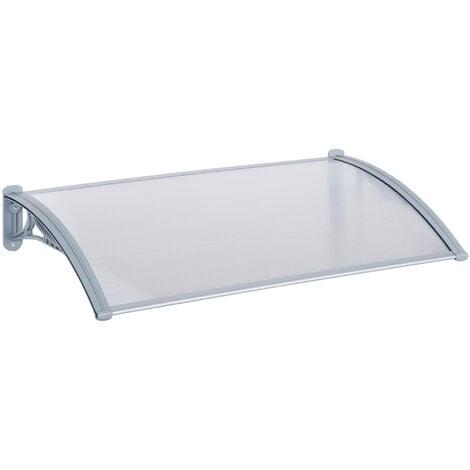 Outsunny Pensilina Tettoia Trasparente in PC Resistente e Alluminio, 140x70x21cm