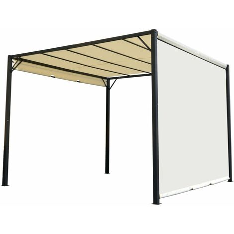 Outsunny Pérgola 3x3m Gazebo Cenador con Techo Retráctil y Pared Lateral Acero Versátil