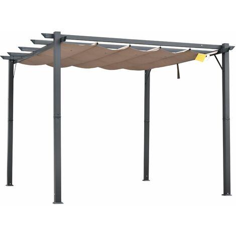 Outsunny Pérgola de Aluminio Gazebo Cenador 3x3m Jardín Patio Terraza con Techo Retráctil