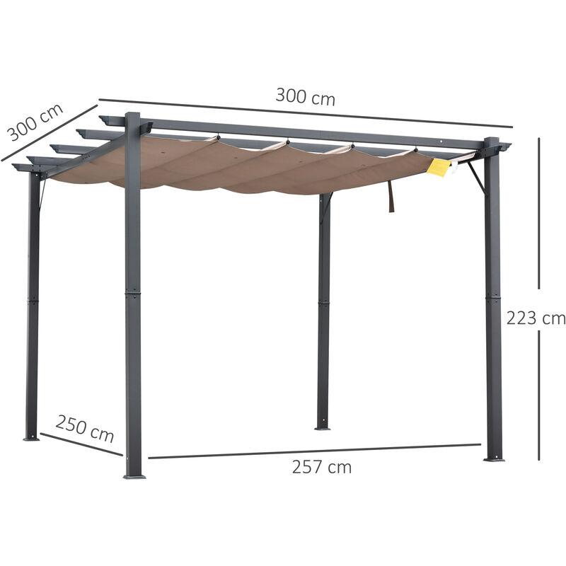 6e3befd6 Outsunny Pérgola de Aluminio Gazebo Cenador 3x3m para Jardín Patio o  Terraza con Techo Retráctil Tela Poliéster Resistente a Agua y UV -