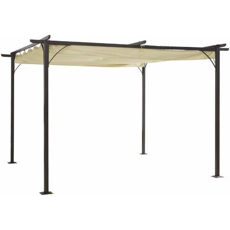 Outsunny Pérgola de Metal 3.5x3.5m Gazebo Cenador para Jardín Patio con Techo Retráctil - Beige y Negro