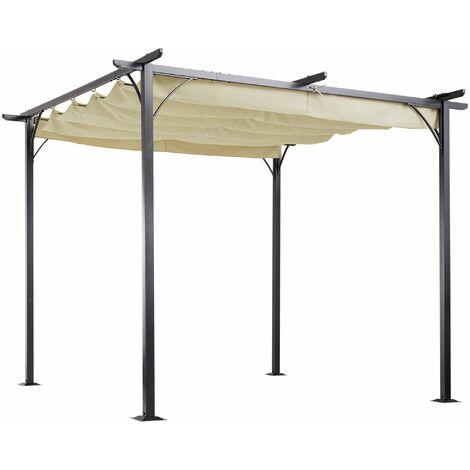 Outsunny Pérgola de Metal 3x3m Gazebo Cenador para Jardín Patio con Techo Retráctil - Beige y Negro