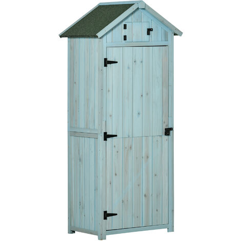 Outsunny Pine Cedarwood Garden Shed Tool Room Storage House Spire Roof - Blue