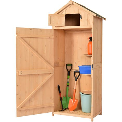 """main image of """"Outsunny Pine Cedarwood Garden Shed Tool Room Storage House Spire Roof - Burlywood"""""""