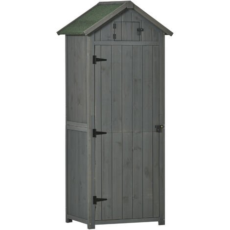 Outsunny Pine Cedarwood Garden Shed Tool Room Storage House Spire Roof - Grey