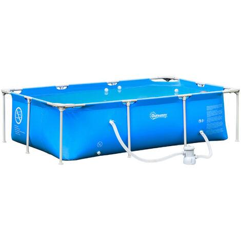 Outsunny Piscina Desmontable 252x152x65 cm Rectangular con Depuradora Cartucho 2163L Azul - Azul