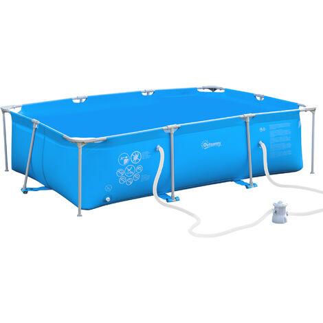 Outsunny Piscina Desmontable 3600L Rectangular con Depuradora Cartucho 291x190x75 cm Azul - Azul