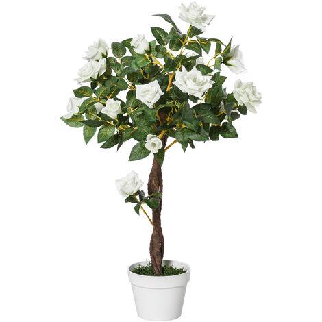 Outsunny Planta Artificial 90 cm Rosa Blanca con 21 Flores y 350 Hojas Maceta de Cemento - Blanco, Verde