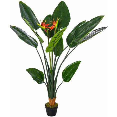 Outsunny Planta Artificial Ave del Paraíso Decorativa con 13 Hojas y 2 Flores Ø18x155 cm - Verde