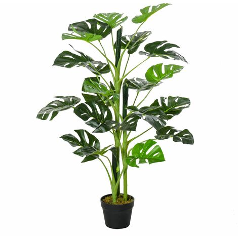 Outsunny Planta Artificial Monstera con Maceta Decorativa de 21 Hojas Ø16x100 cm Verde - Verde