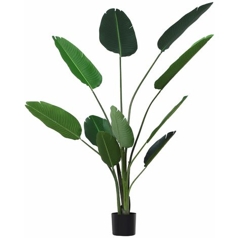Outsunny Planta de Decoración Artificial de Palma Árbol Realista con Maceta 10 Hojas Ф18x180