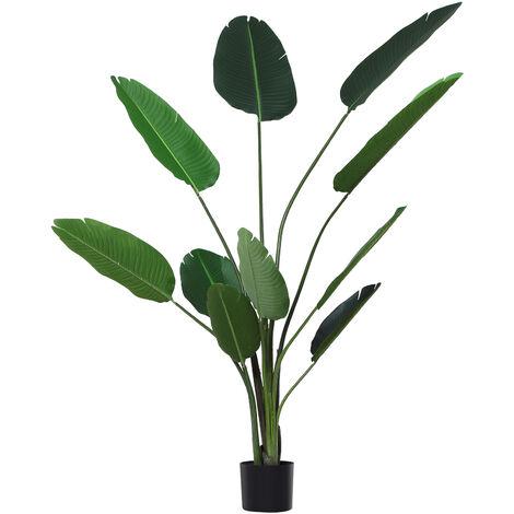 Outsunny Planta de Decoración Artificial de Palma Árbol Realista con Maceta 10 Hojas Ф18x180 - verde