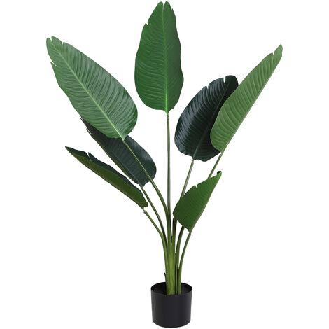 Outsunny Planta de Decoración Artificial de Palma Árbol Realista con Maceta 7 Hojas Ф15x120 - verde
