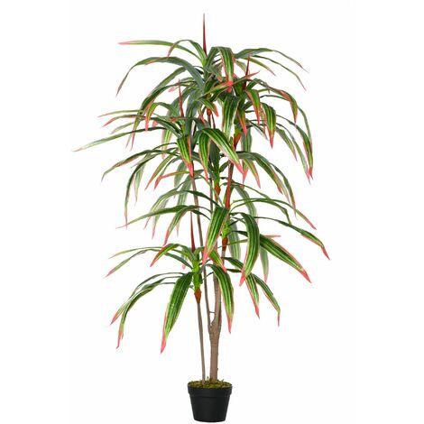Outsunny Planta de Yuca Artificial con Maceta Dracaena con 93 Hojas Ø18x165 cm Verde